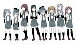 6+girls :> :d ^_^ arare_(kantai_collection) arashio_(kantai_collection) arm_warmers arms_behind_head asagumo_(kantai_collection) asashio_(kantai_collection) bangs black_hair black_legwear blue_eyes blue_ribbon blunt_bangs brown_eyes brown_hair closed_eyes closed_mouth collared_shirt commentary_request crossed_arms double_bun expressionless eyebrows_visible_through_hair frown full_body ghost_in_the_shell ghost_in_the_shell_lineup ghost_in_the_shell_stand_alone_complex green_hairband green_ribbon grey_hair hair_between_eyes hair_flaps hair_over_shoulder hair_ribbon hair_rings hairband hand_on_hip hands_on_hips hands_together hat highres jitome kantai_collection kasumi_(kantai_collection) kneehighs lineup loafers long_hair looking_at_viewer michishio_(kantai_collection) multiple_girls neck_ribbon ooshio_(kantai_collection) open_mouth pleated_skirt purple_hair ribbon school_uniform shirt shoes short_hair side_ponytail simple_background skirt smile standing suspenders thighhighs tonmoh twintails v-shaped_eyebrows white_background white_shirt yamagumo_(kantai_collection)