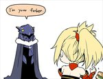2girls armor artoria_pendragon_(all) artoria_pendragon_(lancer_alter) bare_shoulders black_cloak blonde_hair choker cloak commentary_request detached_sleeves english_text facing_away fate/apocrypha fate/grand_order fate_(series) food food_on_face hair_ornament hair_scrunchie hamburger helm helmet long_sleeves looking_at_another looking_to_the_side makishima_azusa mordred_(fate) mordred_(fate)_(all) mother_and_daughter multiple_girls parody ponytail red_scrunchie scrunchie sleeves_past_wrists star_wars surprised white_background