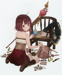 1girl absurdres ahoge atelier_(series) atelier_sophie back bag bare_shoulders blush boots brown_eyes brown_hair brown_legwear corset dagger flower frilled_skirt frills from_behind highres huge_filesize leather leather_boots looking_at_viewer looking_back noco_(adamas) official_art open_mouth potion red_skirt scroll short_hair skirt smile solo sophie_neuenmuller staff weapon