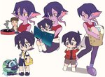 1girl 2boys ^_^ bag bandaid bandaid_on_knee black_hair black_sclera book brown_hair child closed_eyes family frying_pan grey_eyes hood hoodie keith's_father_(voltron) keith_(voltron) kosmo krolia laundry laundry_basket messenger_bag miyata_(lhr) multicolored_hair multiple_boys open_mouth pink_hair purple_eyes purple_hair purple_skin reading shorts shoulder_bag smile smoke spoilers suspender_shorts suspenders tank_top two-tone_hair voltron:_legendary_defender wolf yellow_eyes yellow_sclera younger