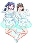 2girls :d arms_up bangs black_eyes black_hair blue_hair blue_outline blush breasts brown_eyes clenched_hands commentary_request dress elbow_gloves eyebrows_visible_through_hair frilled_dress frills gloves hair_between_eyes hair_ornament hands_up high_ponytail holding_hands lace looking_at_viewer love_live! love_live!_sunshine!! matsuura_kanan medium_breasts multiple_girls open_mouth ponytail purple_eyes round_teeth seiyuu seiyuu_connection shoes sidelocks simple_background small_breasts smile suwa_nanaka teeth thank_you_friends!! tiara upper_teeth white_background white_dress white_footwear white_gloves yopparai_oni