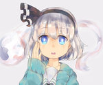 1girl blue_eyes coat collarbone ears face grey_background grey_hair hairband konpaku_youmu konpaku_youmu_(ghost) kyoukai_no_kanata parted_lips short_hair simple_background solo suguharu86 touhou
