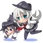 2girls akatsuki_(kantai_collection) anchor_symbol bangs black_hair black_headwear black_legwear black_sailor_collar black_skirt blue_eyes blush brown_footwear chibi colored_shadow eyebrows_visible_through_hair flat_cap grey_hair hair_between_eyes hat hibiki_(kantai_collection) kantai_collection long_hair long_sleeves multiple_girls neckerchief open_mouth oshiruko_(uminekotei) outstretched_arms pantyhose parted_lips pleated_skirt purple_eyes red_neckwear sailor_collar school_uniform serafuku shadow shirt shoes skirt sleeves_past_wrists standing standing_on_one_leg very_long_hair wavy_mouth white_shirt