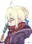1girl ahoge artoria_pendragon_(all) black-framed_eyewear black_sweater blonde_hair blue_ribbon dango eyebrows_visible_through_hair fate/grand_order fate_(series) food from_side glasses hair_between_eyes hair_ribbon highres holding holding_food hood hooded_sweater meimuu mysterious_heroine_x_(alter) red_scarf ribbon scarf short_hair signature simple_background solo sweater upper_body wagashi white_background yellow_eyes