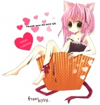 1girl animal_ears artist_request bare_shoulders barefoot blush camisole cat_ears collarbone cup in_container in_cup looking_at_viewer off_shoulder original sitting solo strap_slip tareme toes