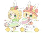 :3 :d animal_ears basket bass_clef beamed_eighth_notes bird blonde_hair boater_hat bow bowtie bunny_ears chibi chick commentary easter easter_egg egg eighth_note flower full_body gloves green_eyes hair_flower hair_ornament hairclip happy_easter hat headband holding holding_basket holding_egg kagamine_len kagamine_rin musical_note najo necktie open_mouth pants ponytail short_hair skirt smile suspender_skirt suspenders symbol_commentary vest vocaloid walking white_gloves