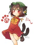 1girl animal_ears bow brown_footwear brown_hair cat_ears cat_tail chen dated dress foot_out_of_frame hanabi_(karintou15) hat highres jewelry long_sleeves multiple_tails orange_dress paw_background red_dress red_eyes shirt shoes short_hair simple_background single_earring smile tail touhou twitter_username two_tails white_background white_shirt