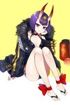 1girl ankle_bow ankle_ribbon bikini black_bikini black_jacket bob_cut borrowed_garments bow commentary_request fate/grand_order fate_(series) full_body gijang headpiece highres jacket oni_horns purple_eyes purple_hair red_bow ribbon short_hair shuten_douji_(fate/grand_order) simple_background sitting smile solo swimsuit white_background yellow_background