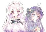 2girls apple apron arcaea bangs blue_apron blue_eyes blush brown_eyes commentary copyright_request eyebrows_visible_through_hair food fruit hair_between_eyes hands_up highres hikari_(arcaea) holding holding_food holding_fruit holding_knife knife korean_text looking_at_viewer multiple_girls pink_hair purple_hair purple_sweater red_apple ribbed_sweater shirt simple_background sweater symbol_commentary tairitsu_(arcaea) tandohark tears translation_request trembling upper_body white_background white_shirt
