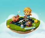 bettykwong blonde_hair blue_cape blue_eyes blue_shirt blue_sky boots bug butterfly cape chibi cloud commentary doughnut eating food fruit grass insect kirby kirby_(series) link milk nintendo onigiri picnic shirt silent_princess sky smile star strawberry the_legend_of_zelda the_legend_of_zelda:_breath_of_the_wild