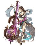 1girl aqua_eyes asymmetrical_clothes bare_shoulders bow_(instrument) brown_hair cage cello flat_chest full_body gretel_(sinoalice) hansel_(sinoalice) instrument jino looking_at_viewer navel official_art revealing_clothes shawl sinoalice smile solo transparent_background