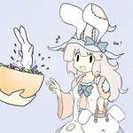 1girl animal animal_ears apron artist_request bag blue_ribbon bunny bunny_ears dress frills halloween hat irisu_kyouko irisu_shoukougun! long_dress long_hair open_mouth patches ribbon silver_hair surprised text_focus white_hair witch_hat