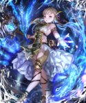 1girl armlet blonde_hair bracelet breasts dress floating_hair grey_eyes hair_ornament hair_ribbon irua jewelry long_hair looking_at_viewer magic medium_breasts open_mouth outstretched_arm purple_ribbon ribbon shingeki_no_bahamut sideboob sleeveless sleeveless_dress solo standing white_dress