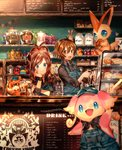 1boy 1girl ahoge alcohol antenna_hair apron arm_up artist_name audino bag bangs black_eyes black_neckwear black_shirt blue_apron blue_eyes blue_hat blush bottle bread brown_eyes brown_hair cafe cake chalkboard chin_rest closed_mouth clothed_pokemon coffee coffee_maker_(object) commentary_request cup cupcake drinking_glass eating english_text flour food gen_5_pokemon hand_up hands_up happy hat high_ponytail holding honey honey_dipper indoors jam jar kettle long_sleeves looking_at_another looking_at_viewer menu naru_(andante) neckerchief open_mouth overalls paper_bag patrat pokemon pokemon_(game) pokemon_bw ponytail red_sclera sandwich shiny shiny_hair shirt short_hair signature sitting smile spoon standing string_of_flags teeth tied_hair touko_(pokemon) touya_(pokemon) victini wristband