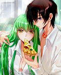 1boy 1girl :t bangs breasts brown_hair c.c. cleavage code_geass collarbone collared_shirt dress_shirt eating green_hair hair_between_eyes hand_in_another's_hair holding_pizza lelouch_lamperouge long_hair medium_breasts open_clothes open_shirt purple_eyes shiny shiny_hair shiny_skin shirt snfskn unbuttoned unbuttoned_shirt upper_body very_long_hair white_shirt wing_collar yellow_eyes