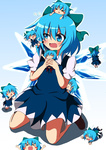 6+girls :< >_< arms_up blue_eyes blue_hair blue_skirt blush blush_stickers bow chibi chibi_on_head cirno closed_eyes do_(4-rt) drooling fang flying hair_bow highres kicking lying minigirl multiple_girls o_o on_stomach open_mouth short_hair sitting skirt smile standing touhou wariza wings