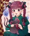 1girl :3 ahoge animal animal_ears animal_on_lap arms_up bangs braid cameo cat_earrings cat_ears commentary curtains dress dual_persona extra_ears eyebrows_visible_through_hair fang fingernails flaming_skull green_dress hair_ribbon juliet_sleeves kaenbyou_rin kaenbyou_rin_(cat) long_hair long_sleeves looking_down maruta_(shummylass) nail_polish neck_ribbon open_mouth petting pointy_ears puffy_sleeves red_eyes red_hair red_nails ribbon sharp_fingernails sitting thick_eyebrows touhou tress_ribbon twin_braids wallpaper_(object)