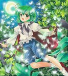 1girl acrylic_paint_(medium) airbrush_(medium) ankle_socks antennae armband blouse butterfly cape crescent_moon flying green_eyes green_hair juliet_sleeves leaf long_sleeves looking_at_viewer marker_(medium) moon night open_mouth outdoors puffy_sleeves short_hair shorts sky solo star_(sky) starry_sky tegaki_no_yuu touhou traditional_media wriggle_nightbug