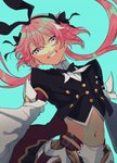 1boy absurdres astolfo_(fate) astolfo_(saber)_(fate) black_bow black_gloves black_neckwear black_ribbon bow bowtie braid fate/apocrypha fate/grand_order fate_(series) gloves hair_intakes highres huge_filesize layered_skirt long_hair looking_at_viewer low_twintails multicolored_hair otoko_no_ko otonashi02 pink_hair purple_eyes ribbon single_braid skirt smile streaked_hair twintails wing_collar