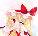 1girl bad_id bad_pixiv_id blonde_hair flandre_scarlet hat kiyomin red_eyes side_ponytail solo tears touhou wings