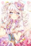 1girl alternate_hairstyle bang_dream! bangs blue_eyes blush bow commentary_request corset curly_hair earrings eyebrows_visible_through_hair food food_themed_clothes food_themed_hair_ornament frills gloves hair_ornament hair_ribbon hairpin hat heart highres jewelry long_hair looking_at_viewer macaron macaron_background neck_ribbon one_side_up pink_bow pocky purple_bow purple_neckwear ribbon shirt short_sleeves side_ponytail skirt smile solo sparkle striped striped_bow striped_neckwear taya_5323203 tilted_headwear top_hat underbust wakamiya_eve wavy_hair white_gloves white_hair yellow_bow