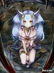 1girl bare_shoulders barefoot blue_hair bracelet breasts cleavage copyright_name earrings facial_mark feathers flute_(force_of_will) force_of_will forehead_mark hair_ornament horns jewelry long_hair looking_at_viewer medium_breasts midriff navel necklace official_art pisuke pointy_ears rock sitting solo sparkle stone twintails yellow_eyes