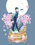 1boy 2017 20day_cc black_hair brown_eyes character_name cherry_blossoms epaulettes flower full_moon grass hair_slicked_back highres ice_skates katsuki_yuuri male_focus moon open_mouth pants petals skates smile tree yuri!!!_on_ice