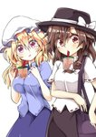 2girls aki_chimaki arm_across_waist bag bangs black_headwear black_skirt blonde_hair blue_shirt blue_skirt blush bow breasts brown_hair bubble_tea bubble_tea_challenge commentary_request cup disposable_cup drinking drinking_straw eyebrows_visible_through_hair fedora hair_between_eyes hair_bow handbag hat hat_bow highres large_breasts looking_at_another maribel_hearn mob_cap multiple_girls purple_eyes raised_eyebrows red_eyes shiny shiny_hair shirt short_sleeves simple_background skirt small_breasts standing surprised touhou usami_renko white_background white_bow white_headwear white_shirt