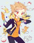 1boy :3 blonde_hair electabuzz electrode fang gloves highres hood hoodie jacket jolteon looking_at_viewer magnemite magneton male_focus open_clothes open_jacket orange_gloves pikachu pokemon pokemon_(creature) pokemon_go raichu red_eyes spark_(pokemon) spiked_hair takashino_(noni-nani) voltorb zapdos |_|