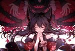 bare_shoulders black_hair closed_eyes commentary_request death_(granblue_fantasy) ear_piercing erune granblue_fantasy hands_together highres long_hair nier_(granblue_fantasy) piercing pollity robe tearing_up white_background