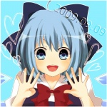 1girl ahoge bad_id bad_pixiv_id blue_eyes blue_hair bow cirno hair_bow hands purin_jiisan ribbon smile solo touhou