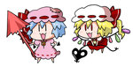 2girls :3 :d bat_wings blonde_hair blue_hair bow brooch chibi commentary detached_wings dress fang flandre_scarlet hat hat_bow jewelry mob_cap multiple_girls noai_nioshi open_mouth patch pink_dress pink_hat puffy_short_sleeves puffy_sleeves red_bow red_dress remilia_scarlet short_hair short_sleeves simple_background smile touhou white_background white_hat wings |_|