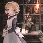 1girl 32_(rt_32_bbk) alternate_costume apron bangs black_dress blue_eyes book bookshelf bottle braid candle commentary desk dress enmaided frame girls_und_panzer indoors lantern long_sleeves maid maid_apron maid_dress maid_headdress orange_hair orange_pekoe parted_bangs plant potted_plant solo standing symbol_commentary tied_hair twin_braids white_apron