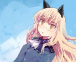 1girl animal_ears ascot blonde_hair cat_ears glasses hashigo long_hair lowres military military_uniform open_mouth perrine_h_clostermann solo strike_witches uniform yellow_eyes