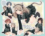 ... 4girls all_fours animal_ears arm_support azumi_(girls_und_panzer) back-to-back bangs black_footwear black_hair black_jacket black_neckwear black_ribbon black_skirt blue_eyes blush boots breasts brown_eyes brown_hair cat_ears cat_tail cleavage closed_eyes commentary constricted_pupils cross-laced_footwear dress_shirt eyebrows_visible_through_hair fang female_pervert girls_und_panzer grey_eyes grey_hair hair_ribbon half-closed_eyes hand_on_another's_chin heart heart-shaped_pupils heavy_breathing highres indian_style jacket kemonomimi_mode kneeling lace-up_boots light_brown_hair long_hair long_sleeves looking_at_another looking_at_viewer looking_back lying medium_breasts megumi_(girls_und_panzer) military military_uniform miniskirt motion_lines multiple_girls necktie no_emblem no_shirt on_side one_side_up outline panties pantyshot pantyshot_(lying) paw_print pencil_skirt pervert petting pleated_skirt print_bag ribbon round_eyewear rumi_(girls_und_panzer) seiza selection_university_military_uniform senta_(ysk_0218) shimada_arisu shirt sitting skirt sleeping spoken_ellipsis sweat swept_bangs symbol-shaped_pupils tail translated trembling_penis underwear uniform white_outline white_panties white_shirt