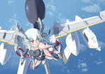 1girl aqua_hair breasts cleavage ea-6_prowler elbow_gloves garter_belt gloves highres jet_engine looking_to_the_side mecha_musume nenchi red_eyes skin_tight solo swimsuit wings