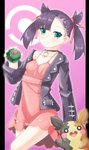 1girl :d asymmetrical_bangs bangs black_choker black_hair black_jacket breasts choker collarbone commentary_request dress dusk_ball eyebrows_visible_through_hair fuyuki8208 gen_8_pokemon green_eyes hair_ribbon highres holding holding_poke_ball jacket long_sleeves looking_at_viewer mary_(pokemon) morpeko off_shoulder open_clothes open_jacket open_mouth pillarboxed pink_background pink_dress poke_ball poke_ball_symbol pokemon pokemon_(creature) pokemon_(game) pokemon_swsh red_ribbon ribbon small_breasts smile twintails upper_teeth