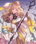 1girl :3 blonde_hair blue_eyes breasts commentary_request copyright_request curly_hair detached_sleeves dress fingernails flower hair_flower hair_ornament hairpin highres holding large_breasts lee_hyeseung long_hair looking_at_viewer nail_polish smile solo staff white_hair yellow_nails