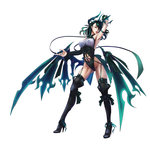 1girl breasts demon_girl facial_mark felice_qaddaf green_hair highres looking_at_viewer low_wings original solo succubus wings yellow_eyes