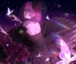1girl bare_shoulders black_dress black_hat breasts bug butterfly commentary detached_sleeves dress elf frilled_dress frills hat highres insect large_breasts looking_at_viewer lucid maplestory mini_hat mini_top_hat mp_nino night night_sky pink_hair pointy_ears purple_eyes purple_hair short_hair sky solo top_hat