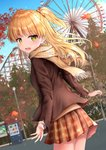 1girl :d absurdres autumn_leaves bangs blazer blonde_hair blue_sky blurry blurry_background blush brown_jacket brown_scarf brown_skirt cloud commentary_request day depth_of_field eyebrows_visible_through_hair fangs ferris_wheel fingernails fringe_trim green_eyes highres idolmaster idolmaster_cinderella_girls jacket jougasaki_rika karu_(qqqtyann) lamppost long_hair long_sleeves looking_at_viewer looking_back open_blazer open_clothes open_jacket open_mouth outdoors plaid plaid_scarf plaid_skirt pleated_skirt roller_coaster scarf skirt sky smile solo sweater_vest two_side_up vending_machine very_long_hair