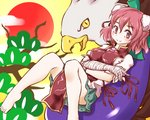 1girl animal aodu_fumiyoshi bandaged_arm bandages barefoot beak bird blush breasts commentary_request crossed_arms cuffs double_bun eagle eggplant eyebrows_visible_through_hair feet flower foot_out_of_frame green_skirt hatsuyume ibaraki_kasen large_breasts looking_at_viewer lying on_back pink_eyes pink_flower pink_hair pink_rose puffy_short_sleeves puffy_sleeves ribbon rose shackles shirt short_hair short_sleeves skirt smile solo_focus sun tabard toes touhou tree tree_branch white_shirt yellow_eyes