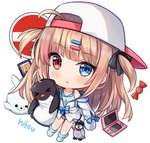 1girl :< ahoge artist_name backwards_hat baseball_cap black_bow blue_camisole blue_eyes blue_legwear blue_sailor_collar blue_shorts blush bow camisole candy_wrapper chibi closed_mouth commentary english_commentary full_body hair_bow hair_ornament hairclip handheld_game_console hat heterochromia hitsukuya light_brown_hair long_hair long_sleeves looking_at_viewer nintendo_3ds no_entry_sign no_shoes off_shoulder open_clothes open_shirt original red_eyes sailor_collar shirt short_shorts shorts signature simple_background sleeves_past_fingers sleeves_past_wrists socks solo stuffed_animal stuffed_penguin stuffed_seal stuffed_toy two_side_up very_long_hair white_background white_headwear white_shirt