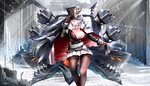 1girl azur_lane bangs belt black_gloves black_legwear breasts cannon cape cleavage closed_mouth commentary_request expressionless eyebrows_visible_through_hair floating_hair fur-trimmed_cape fur_trim gloves graf_zeppelin_(azur_lane) hair_between_eyes hand_on_headwear hat highres iron_cross jacket large_breasts light_rays long_hair looking_at_viewer machinery mid-stride military military_uniform naka_(nakamaru_ak) pantyhose peaked_cap pleated_skirt red_eyes rigging ripples sidelocks signature silver_hair skirt solo turrets uniform very_long_hair walking water white_skirt wind wind_lift