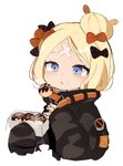 1girl abigail_williams_(fate/grand_order) bandaid_on_forehead black_bow black_jacket blonde_hair blowing blowing_on_food blue_eyes blush bow box commentary crossed_bandaids fate/grand_order fate_(series) food food_on_face hair_bun heroic_spirit_traveling_outfit holding holding_box jacket long_sleeves multiple_hair_bows no_symbol open_mouth orange_bow polka_dot polka_dot_bow seu_9(banya) short_hair simple_background skewer sleeves_past_wrists solo takoyaki upper_body white_background