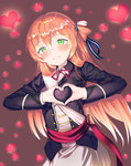 1girl absurdres blush brown_hair eyebrows_visible_through_hair girls_frontline green_eyes heart heart-shaped_boob_challenge heart_background heart_hands highres long_hair looking_at_viewer m1903_springfield_(girls_frontline) parted_lips ribbon smile solo tttanggvl