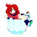 1girl artist_request bandana blue_eyes cup gloves haruka_(pokemon) in_container in_cup lowres minigirl pokemon red_hair short_hair simple_background solo teacup white_background
