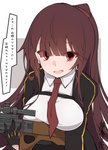 1girl bangs blazer breasts bullpup commentary_request eyebrows_visible_through_hair eyes_visible_through_hair girls_frontline gloves gun half_updo highres holding holding_gun holding_weapon jacket large_breasts long_hair looking_at_viewer necktie object_namesake open_mouth red_eyes red_neckwear rifle sakakiba_misogi shirt sniper_rifle solo translation_request upper_body wa2000_(girls_frontline) walther walther_wa_2000 weapon white_shirt