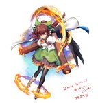1girl arm_cannon bangs black_legwear black_wings boots bow breasts brown_footwear brown_hair cape commentary_request feathered_wings fire flame followers full_body green_bow green_skirt hair_bow large_breasts leaning_forward long_hair looking_at_viewer mismatched_footwear petticoat red_eyes reiuji_utsuho shirt sidelocks simple_background skirt smile solo thighhighs thighs touhou translation_request uzuki_karasu weapon white_background white_cape white_shirt wings