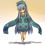 1girl barefoot blue_hair bronzong floating headdress hitec long_hair moemon open_mouth personification pokemon pokemon_(creature) pokemon_(game) pokemon_dppt red_eyes shadow sleeves_past_wrists solo very_long_hair